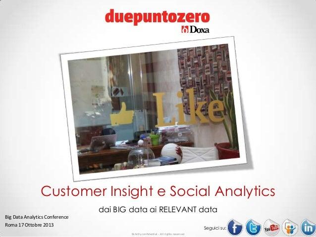Customer Insight e Social Analytics. Dai Big Data ai Relevant Data