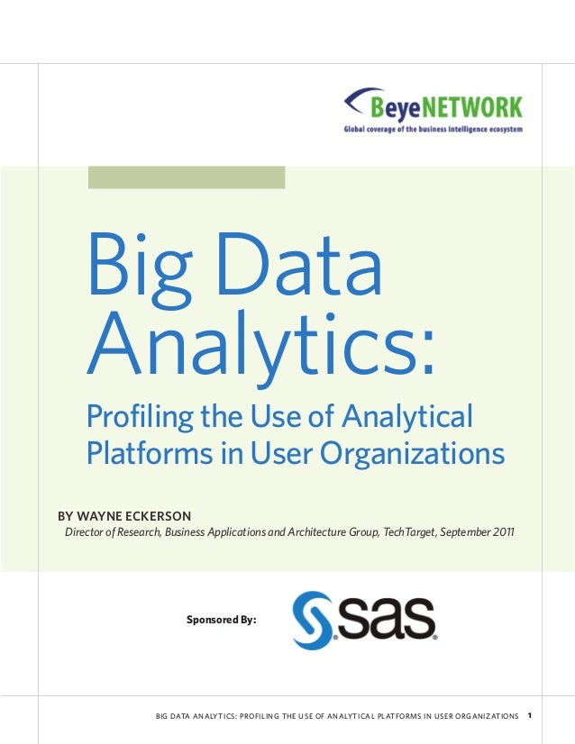 BIG DATA ANALYTICS: PROFILING THE USE OF ANALYTICAL PLATFORMS IN USER ORGANIZATIONS 1Big DataAnalytics:Profiling the Use o...