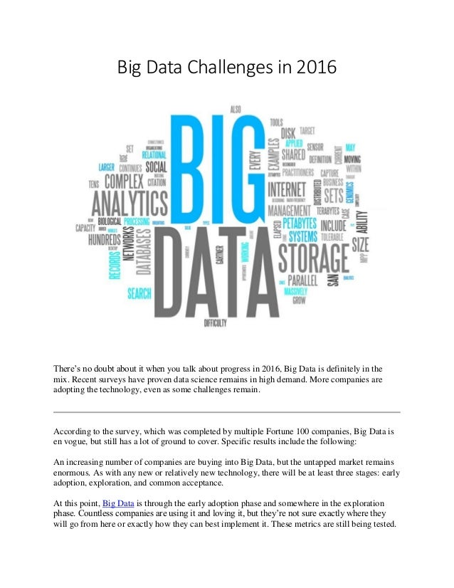 """the big data challenges essay Big data and social science research  opportunities and challenges,"""" which highlighted the opportunities and challenges of using big data."""