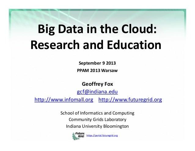 https://portal.futuregrid.org BigDataintheCloud: ResearchandEducation September92013 PPAM2013Warsaw GeoffreyF...