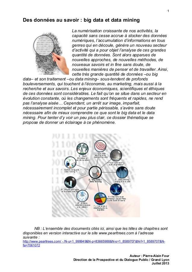 1 Auteur : Pierre-Alain Four Direction de la Prospective et du Dialogue Public / Grand Lyon Juillet 2013 Des données au sa...