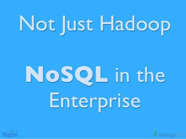Not Just HadoopNoSQL in the Enterprise