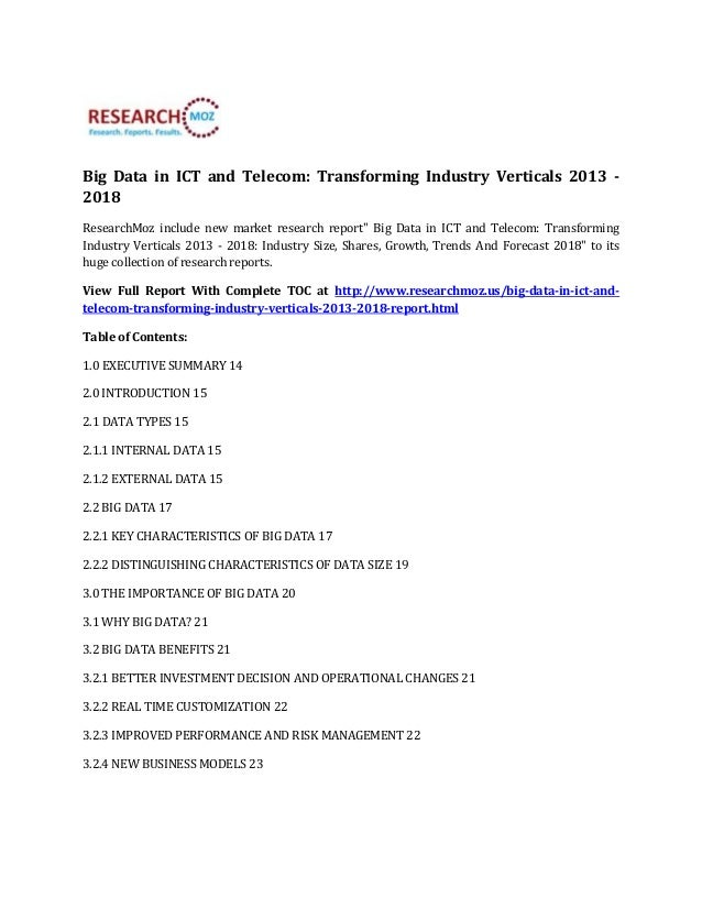 ResearchMoz: Big Data in ICT and Telecom Transforming Industry Verticals 2013 - 2018