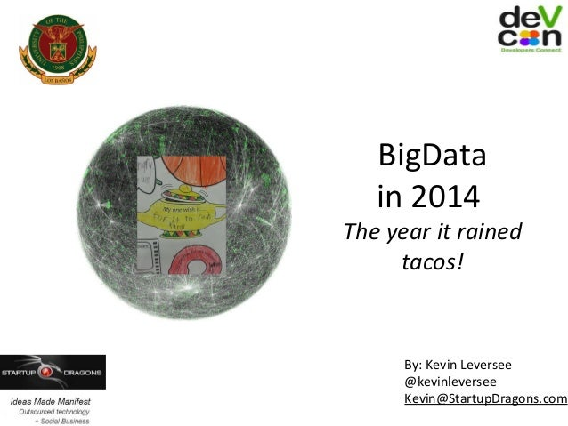 BigData in 2014  The year it rained tacos!  By: Kevin Leversee @kevinleversee Kevin@StartupDragons.com
