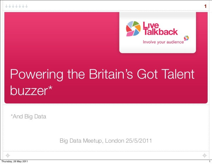 1      Powering the Britain's Got Talent      buzzer*       *And Big Data                        Big Data Meetup, London 2...