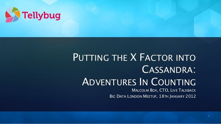 PUTTING THE X FACTOR INTO              CASSANDRA:  ADVENTURES IN COUNTING                  MALCOLM BOX, CTO, LIVE TALKBACK...