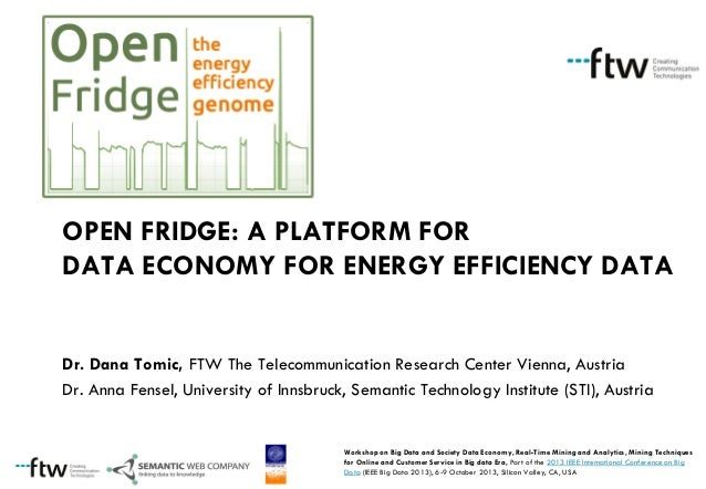 OPEN FRIDGE: A PLATFORM FOR DATA ECONOMY FOR ENERGY EFFICIENCY DATA  Dr. Dana Tomic, FTW The Telecommunication Research Ce...