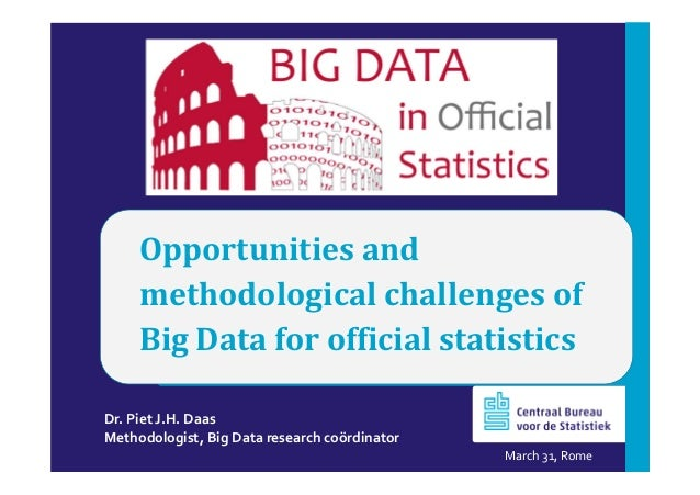 Opportunities and methodological challenges of Big Data for official statistics Dr. Piet J.H. Daas Methodologist, Big Data...
