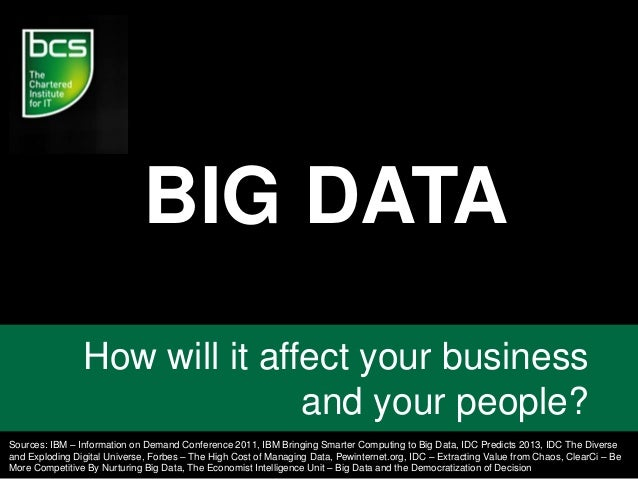 BIG DATA How will it affect your business and your people? Sources: IBM – Information on Demand Conference 2011, IBM Bring...