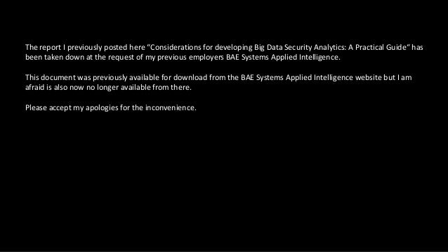 "The report I previously posted here ""Considerations for developing Big Data Security Analytics: A Practical Guide"" has bee..."