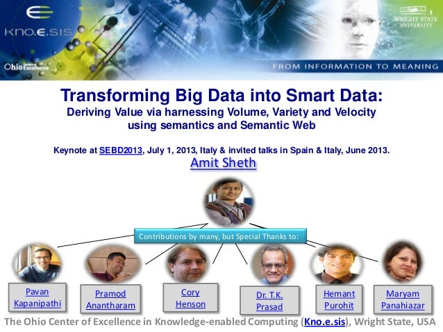 Transforming Big Data into Smart Data: Deriving Value via harnessing Volume, Variety and Velocity using semantics and Semantic Web