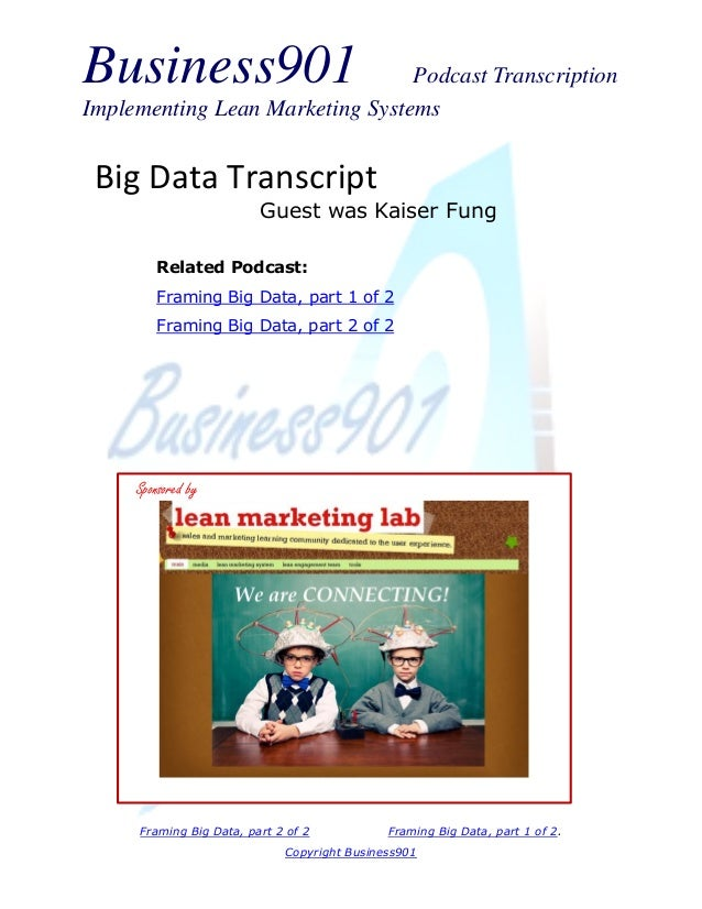 Business901 Podcast Transcription Implementing Lean Marketing Systems Framing Big Data, part 2 of 2 Framing Big Data, part...