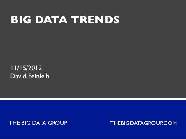 BIG DATA TRENDS11/15/2012David FeinleibTHE BIG DATA GROUP   THEBIGDATAGROUP.COM