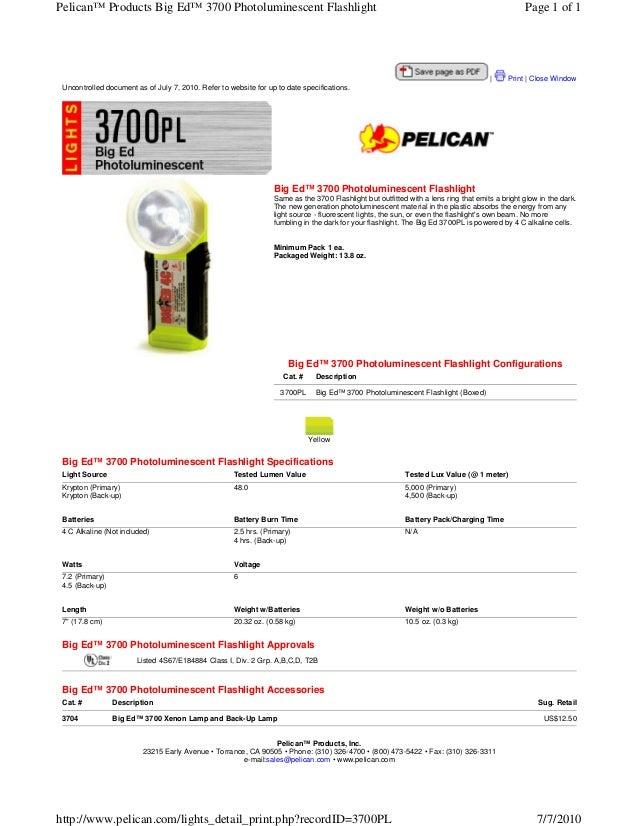 Pelican™ Products Big Ed™ 3700 Photoluminescent Flashlight                                                                ...