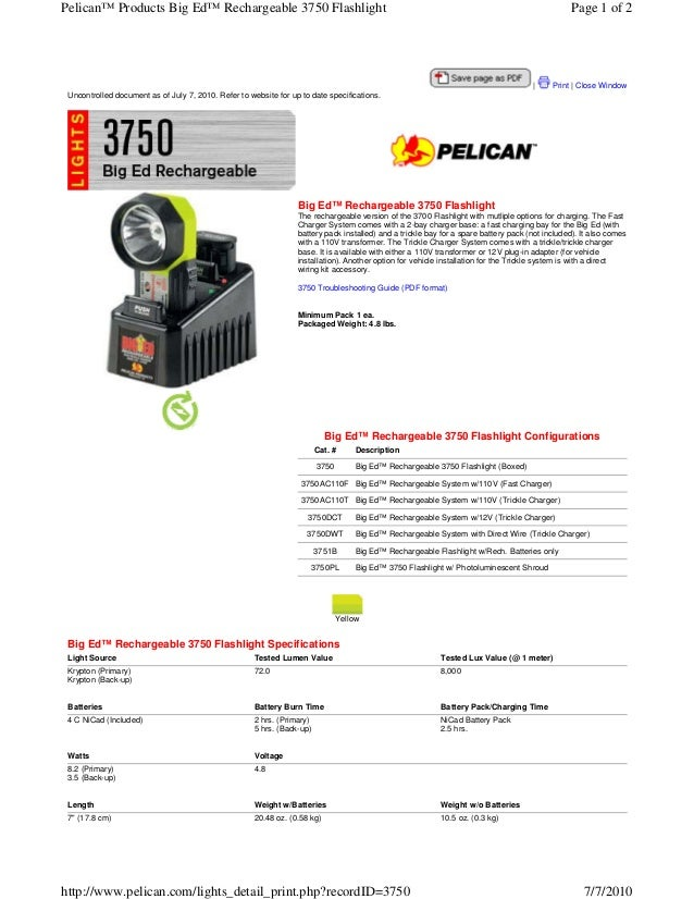 Pelican™ Products Big Ed™ Rechargeable 3750 Flashlight                                                                    ...