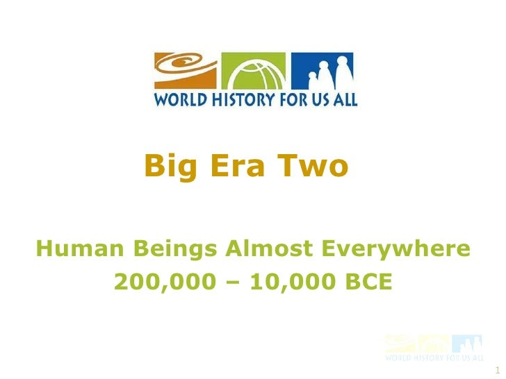Human Beings Almost Everywhere 200,000 – 10,000 BCE Big Era Two