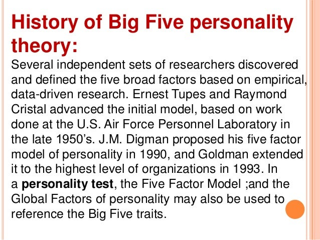 the big 5 personality traits essay Team personality traits can be easily captured by  the big 5 personality test is not the most reliable test to describe an  haven't found the essay you.