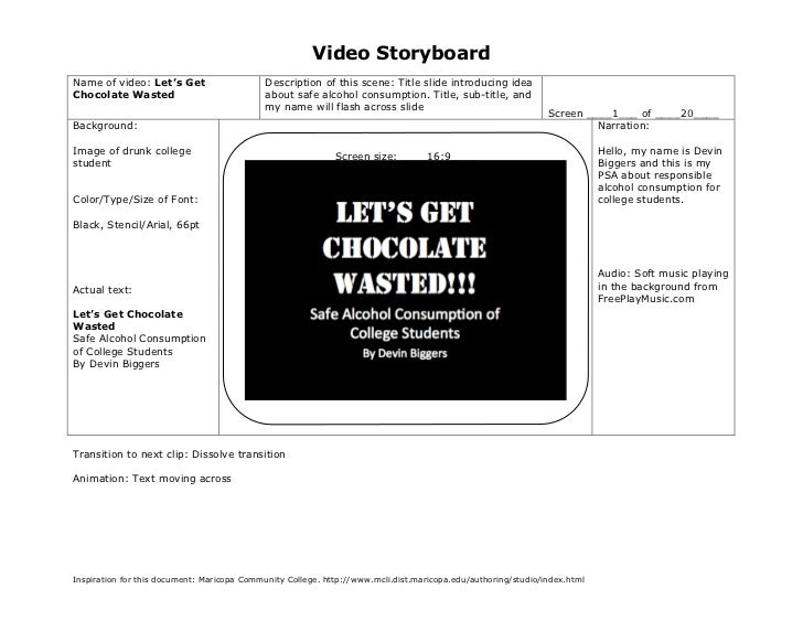 Video StoryboardName of video: Let's Get                     Description of this scene: Title slide introducing ideaChocol...