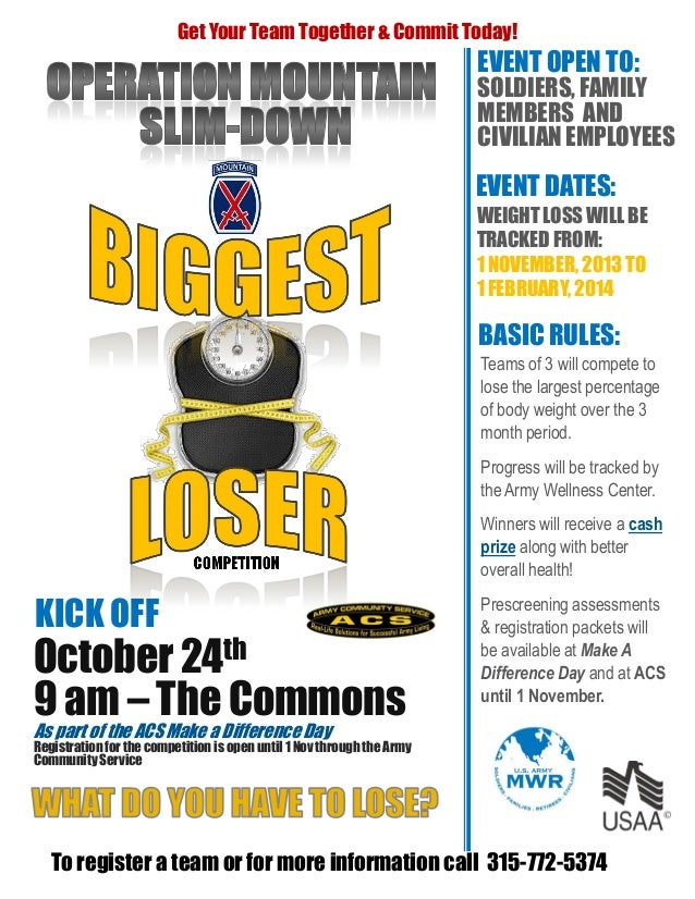 Biggest Loser challenge flyer