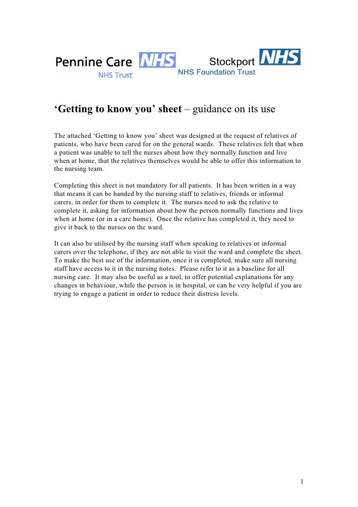 'Getting to know you' sheet – guidance on its use  The attached 'Getting to know you' sheet was designed at the request of...