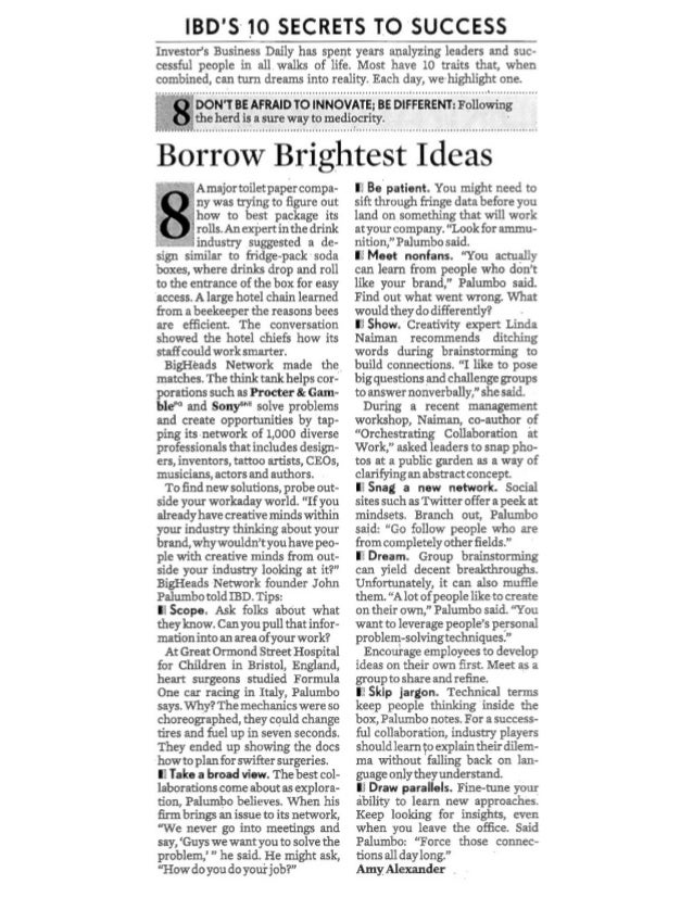Borrowing Wisdom - BigHeads in Investors Business Daily