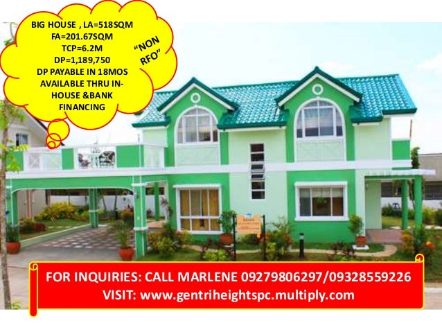 BIG HOUSE , LA=518SQM FA=201.67SQM TCP=6.2M DP=1,189,750 DP PAYABLE IN 18MOS AVAILABLE THRU IN- HOUSE &BANK FINANCING FOR ...