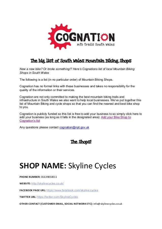 The big list of South Wales Mountain Biking Shops New a new bike? Or broke something!? Here's Cognations list of local Mou...