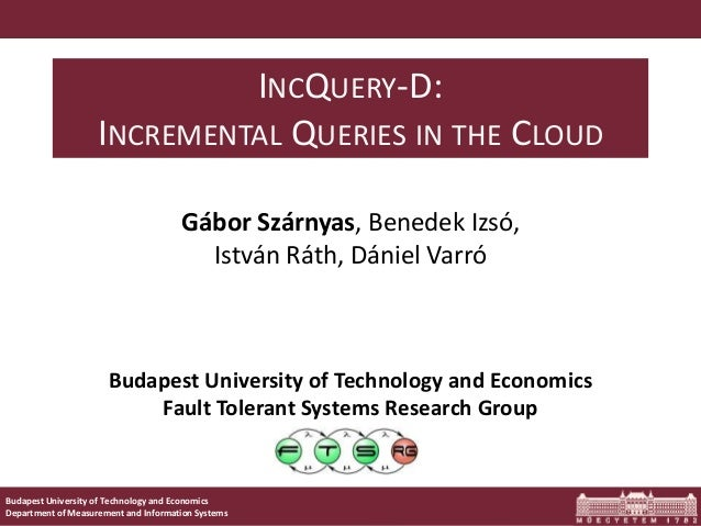Budapest University of Technology and Economics Department of Measurement and Information Systems Budapest University of T...