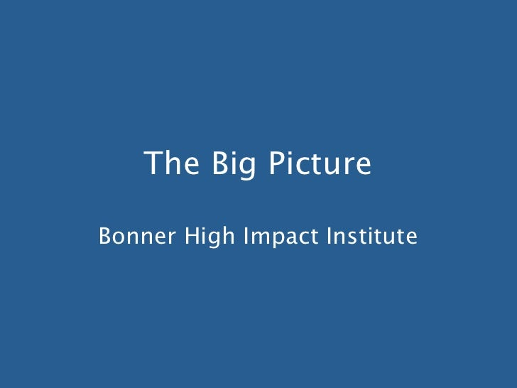 The Big PictureBonner High Impact Institute