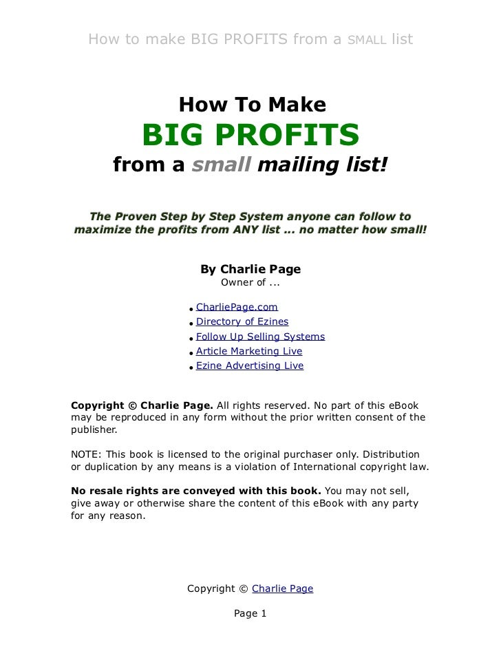 How to make BIG PROFITS from a SMALL list                      How To Make              BIG PROFITS        from a small ma...
