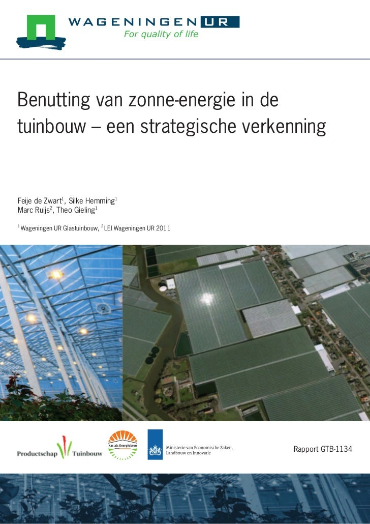 Big report on using solar energy in greenhouses (in dutch!)