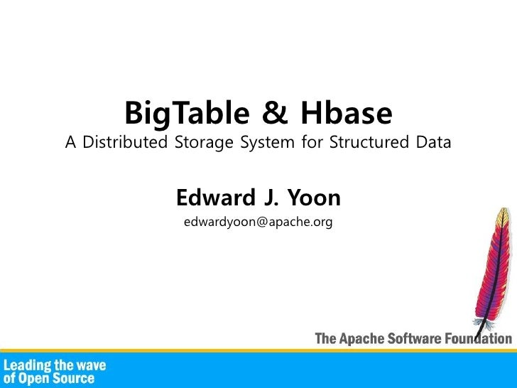 BigTable & Hbase A Distributed Storage System for Structured Data                Edward J. Yoon               edwardyoon@a...