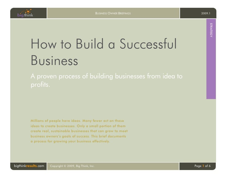 Big think   how to build a successful business