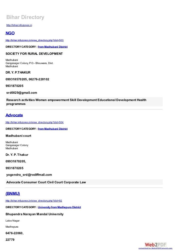 Bihar Directoryhttp://bihar.infozones.inNGOhttp://bihar.infozones.in/view_directory.php?did=503DIRECTORY CATEGORY : from M...