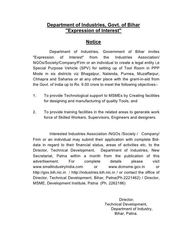 Department of Industries, Govt. of Bihar                ''Expression of Interest''                                   Notic...