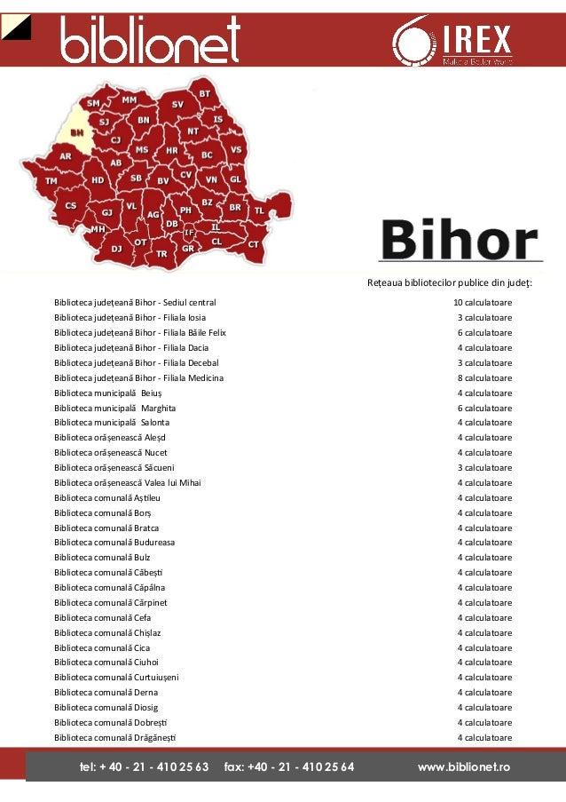 Biblionet in Bihor - biblioteci echipate in proiect- 2009-2013