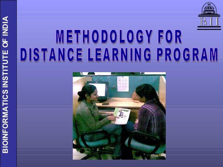 METHODOLOGY FOR  DISTANCE LEARNING PROGRAM
