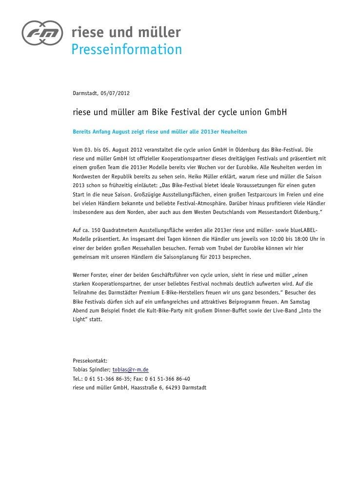 PresseinformationDarmstadt, 05/07/2012riese und müller am Bike Festival der cycle union GmbHBereits Anfang August zeigt ri...