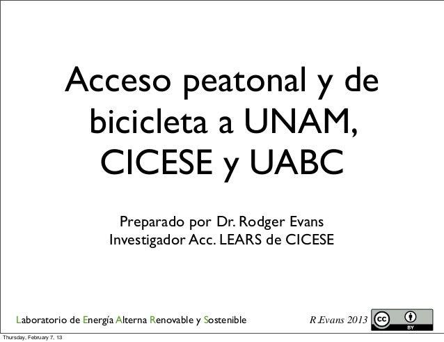 Bike routs cicese uabc-unam