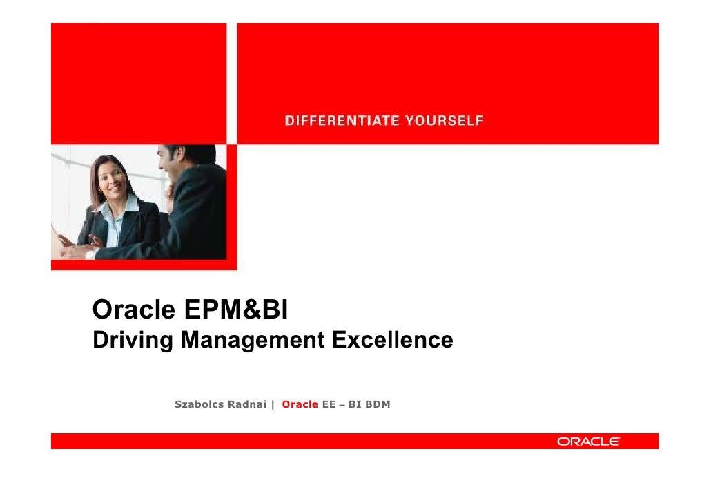 Oracle EPM&BI Driving Management Excellence        Szabolcs Radnai | Oracle EE – BI BDM