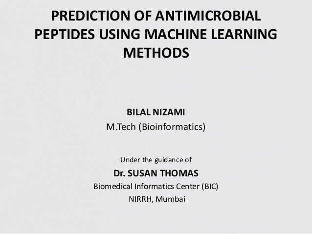 PREDICTION OF ANTIMICROBIAL PEPTIDES USING MACHINE LEARNING METHODS
