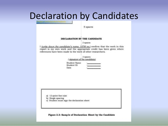 candidate declaration for thesis 11 requirements of a thesis  students should also include in each copy of their thesis a signed declaration  the electronic copy of a candidate's thesis.