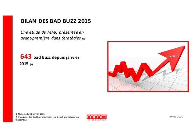 BILAN  DES  BAD  BUZZ  2015 643  bad  buzz  depuis  janvier   2015  (2) (1)  Numéro   du  21  ...