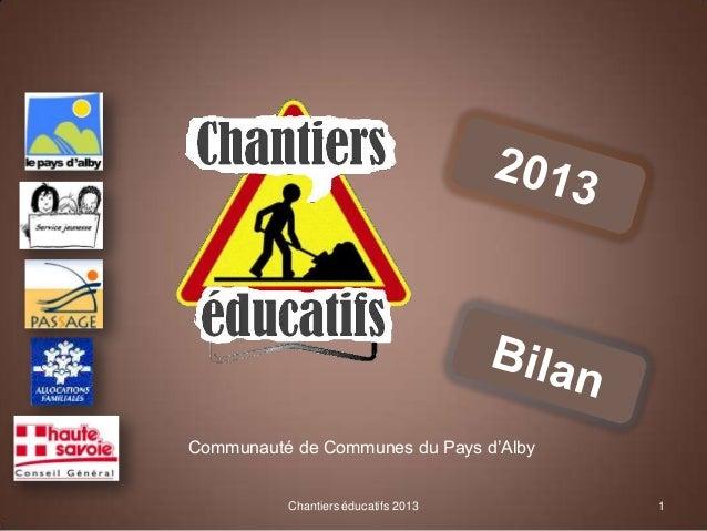 Communauté de Communes du Pays d'Alby  Chantiers éducatifs 2013  1