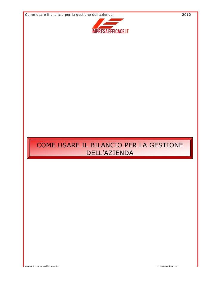 Bilancio special report