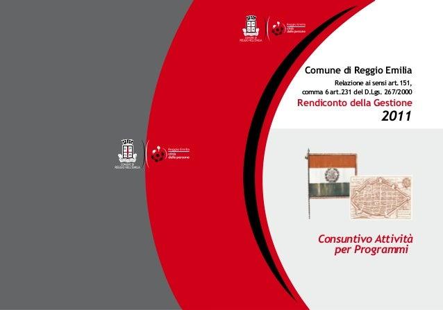 Rendiconto della Gestione 2011 - Consuntivo Attività per Programmi