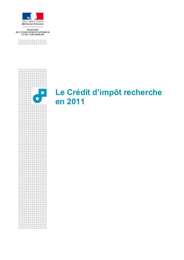Le Crédit d'Impôt recherche en 2011