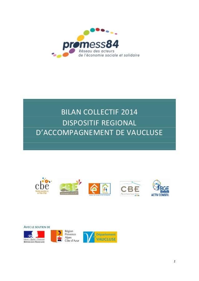 1 BILAN COLLECTIF 2014 DISPOSITIF REGIONAL D'ACCOMPAGNEMENT DE VAUCLUSE AVEC LE SOUTIEN DE