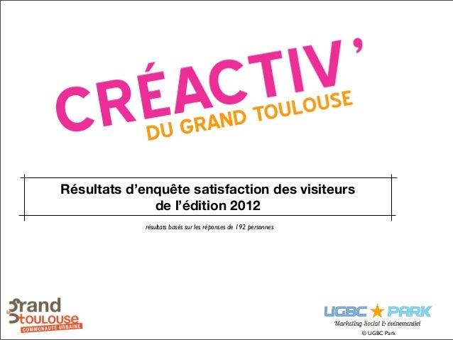 Résultats d'enquête satisfaction des visiteurs              de l'édition 2012             résultats basés sur les réponses...