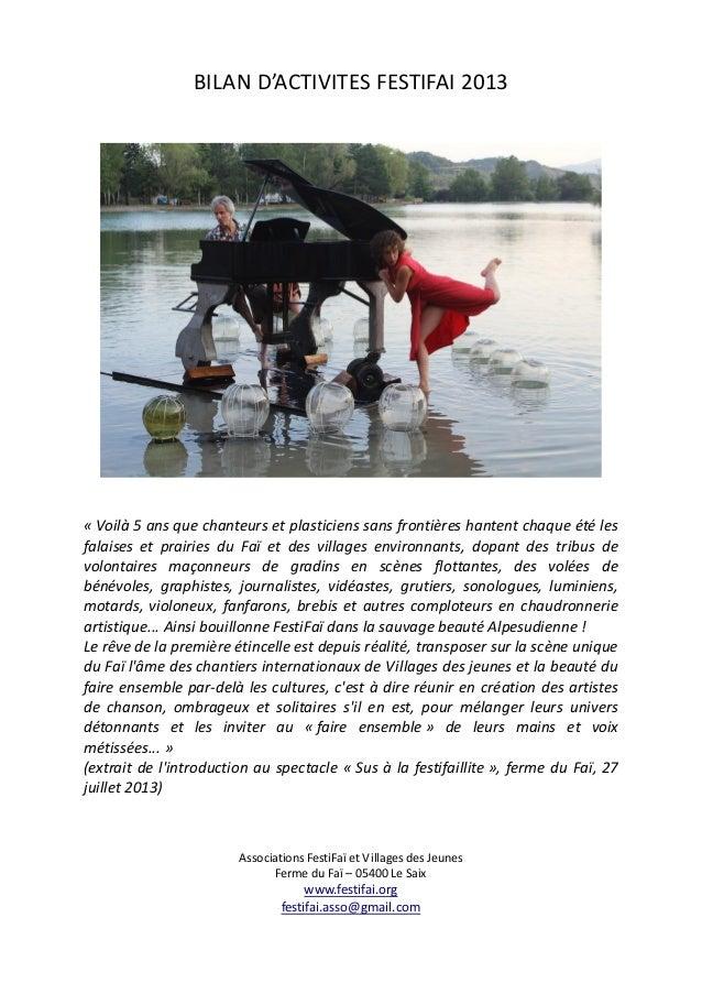 BILAN D'ACTIVITES FESTIFAI 2013 « Voilà 5 ans que chanteurs et plasticiens sans frontières hantent chaque été les falaises...